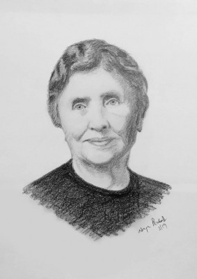 Pencil Sketch Single Person Poster without frame of Hellen Keller(#938)-gallery-0