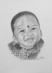 Pencil Sketch Single Person Poster without frame a Baby(#942) - getkraft.com