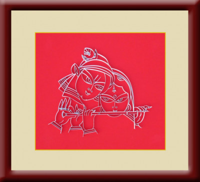 Handcrafted Home Decor Wooden Frame Poster Portrait of Radha Krishna(#945)-gallery-0