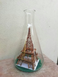 Handcrafted Mini Eiffel Tower Bamboo Structure inside Glass Container(#947) - getkraft.com