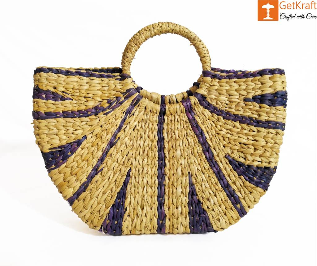 Natural Straw Striped Handbag Navy Blue(#950)-gallery-0