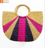 Natural Straw Striped Multipurpose Handbag Deep Purple and Pink(#951) - getkraft.com