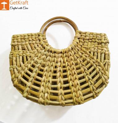 Natural Straw Mini Net Handmade U bag(#956)-gallery-0