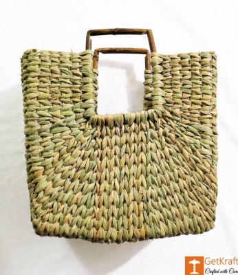 Natural Straw Mini Square Handbag with Square Handles(#957)-gallery-0