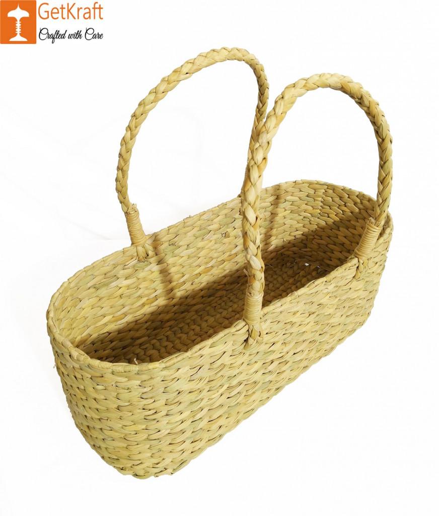 Kauna Water Reed Picnic cum Shopping Basket(#958)-gallery-1