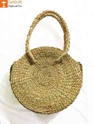 Natural Straw Large Round Handbag for Women(#960) - getkraft.com