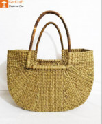 Natural Straw U-Shaped Fancy Handbag with Long Handles(#967) - getkraft.com
