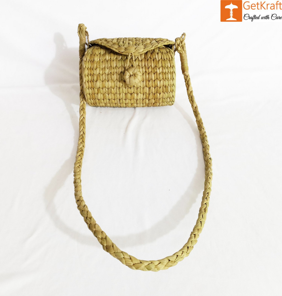 Handcrafted Natural Straw Sling Bag(#972)-gallery-0