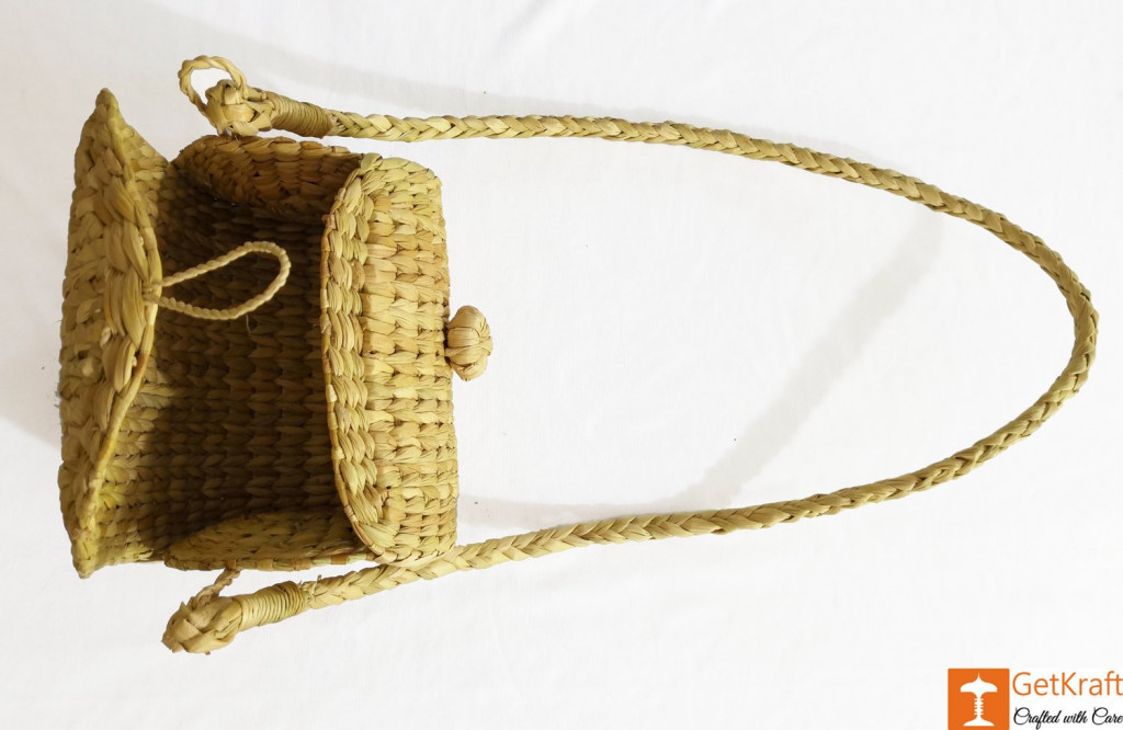 Handcrafted Natural Straw Sling Bag(#972)-gallery-2