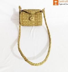 Handcrafted Natural Straw Sling Bag(#972) - getkraft.com