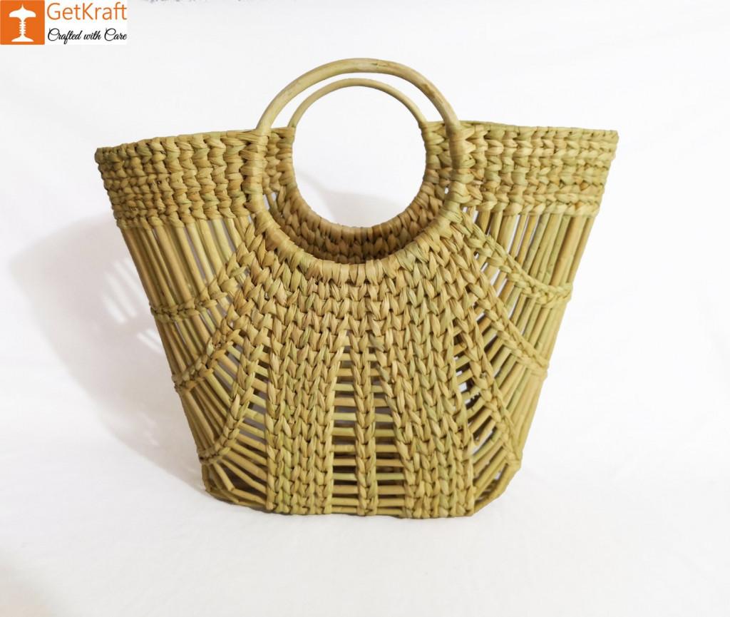 Natural Straw Oval Zally Handbag(#973)-gallery-0