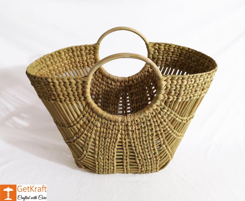 Natural Straw Oval Zally Handbag(#973)-gallery-1