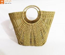 Natural Straw Oval Zally Handbag(#973) - getkraft.com