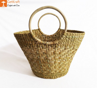 Natural Straw Oval Handbag with Multiple Patterns(#974)-gallery-0