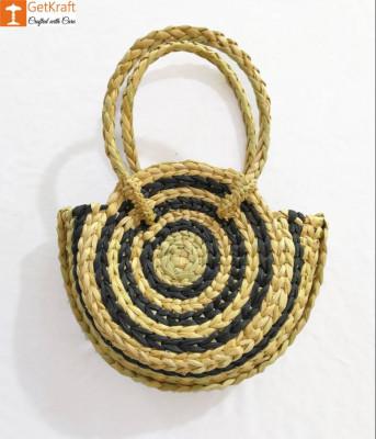 Attractive Striped Natural Straw Handbag(#975)-gallery-0