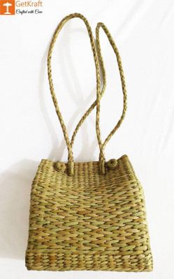 Natural Straw Grass Handmade Picnic Bag with Long Handle(#976)-gallery-0