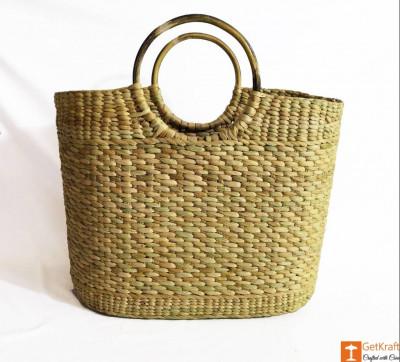Natural Straw Large Picnic Bag(#979)-gallery-0