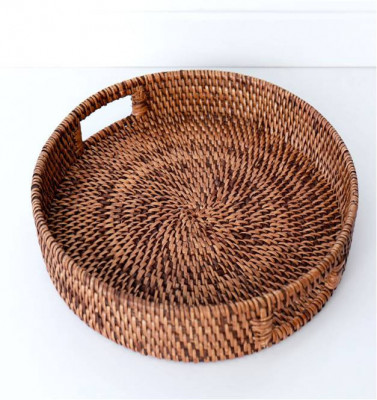 Round Rattan Serving Tray(#985)-gallery-0