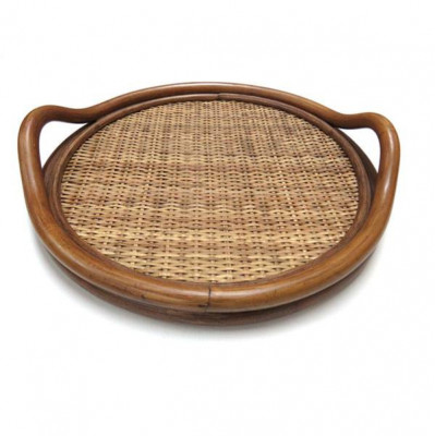 Cane Rattan Round Serving Kitchen Tray(#993)-gallery-0