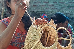 Ladies concentrating on her skill to provide excellent quality product from eco friendly Natural Straw